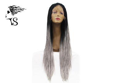 Long Grey Synthetic Box Braid Lace Front Peruki z ciemnymi korzeniami dla Afirica Girls