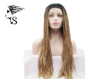 Blonde Box Braids Synthetic Braided Wigs z Dark Roots dla Afroamerykanów