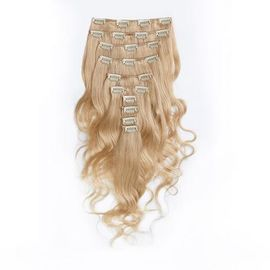 Bleach Blonde Long Clip in Indian Virgin Hair Extensions Body Wave dla kobiet czarnych