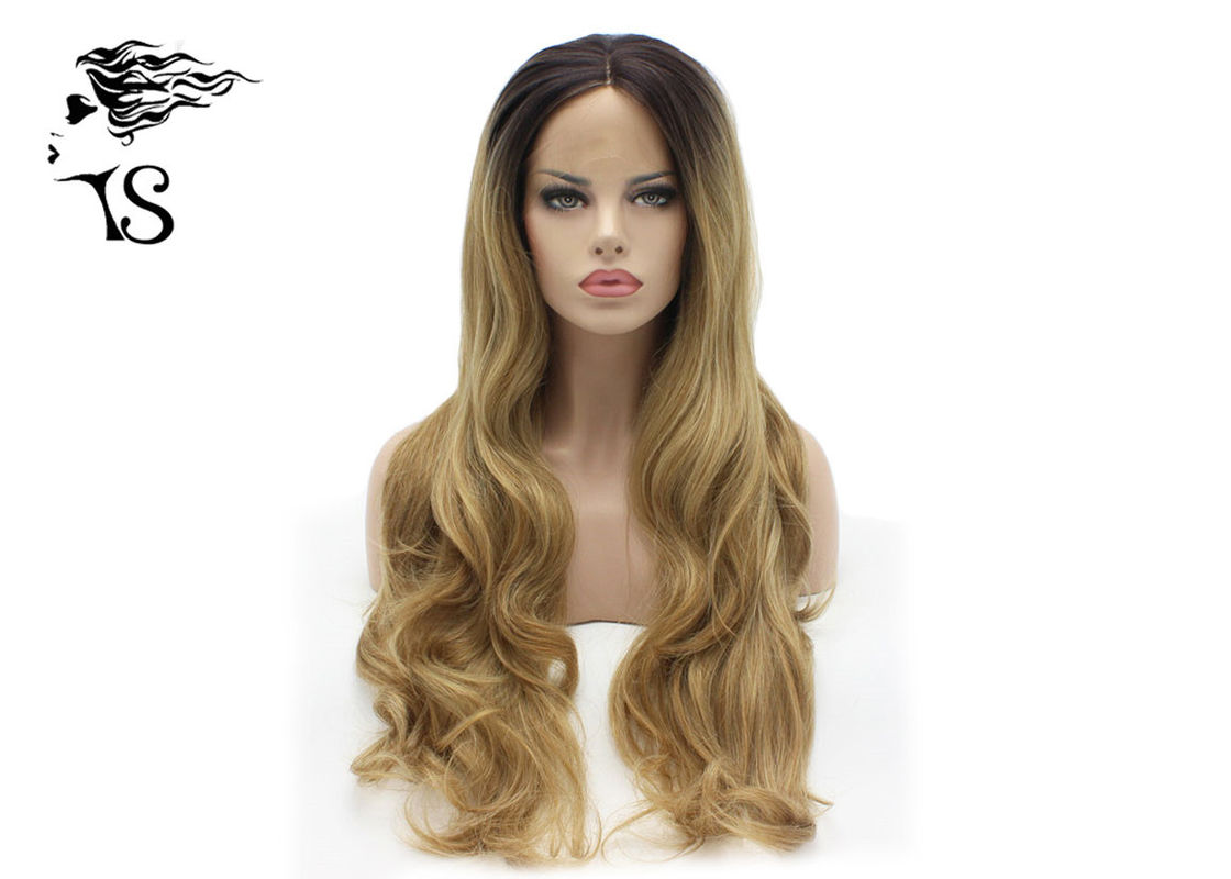 Long Ginger Synthetic Blonde Lace Front Wig With Dark Roots Wavy Curly Style