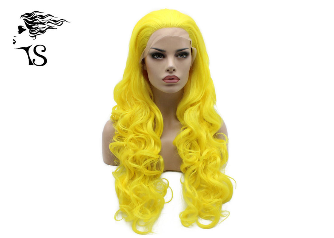 Bright Yellow Color Synthetic Wavy Lace Front Wigs For Rupuals Drag Race