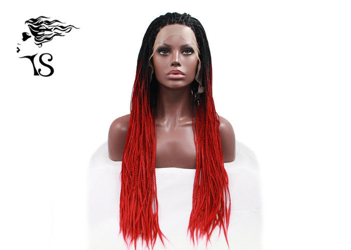 Red Synthetic Braided Wigs With Dark Roots , Black Women Box Braid Lace Wig