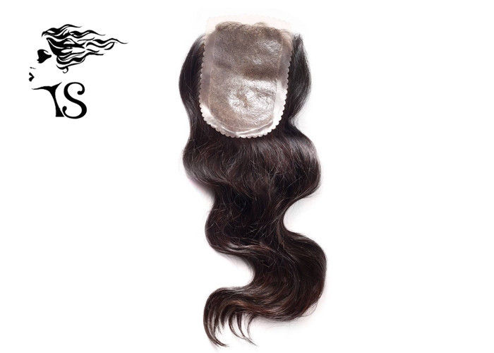 Skin Base Lace Front Human Hair Toppers , Water Wave Silk Frontal Hair Pieces