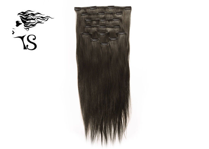 Black Long Virgin Remy Clip In Hair Extensions , Mongolian Straight Hair Extensions