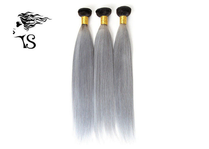 Straight Gray Ombre Human Hair Extensions Bundles , 8A Brazilian Human Hair Weave